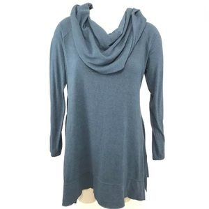 Soft Surroundings Shirt L B'Call Blue Cowl Neck